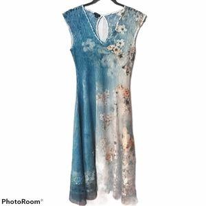 KOMAROV Textured Floral Printed Chiffon Dress
